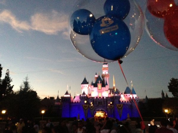 Sleeping Beauty's Castle as the sun sets